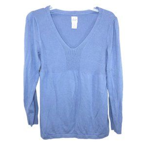 5/$35 Duo Maternity Blue V-Neck Sweater - L